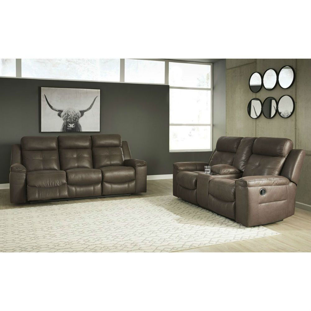 Abiquiu Reclining Console Sofa and Loveseat - Coffee - Lifestyle
