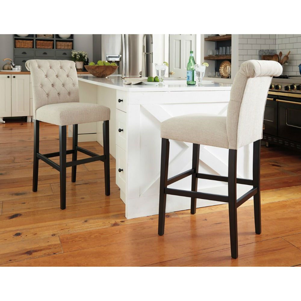 "Tripton 30"" Upholstered Counter Stool - Linen - Lifestyle Pair"