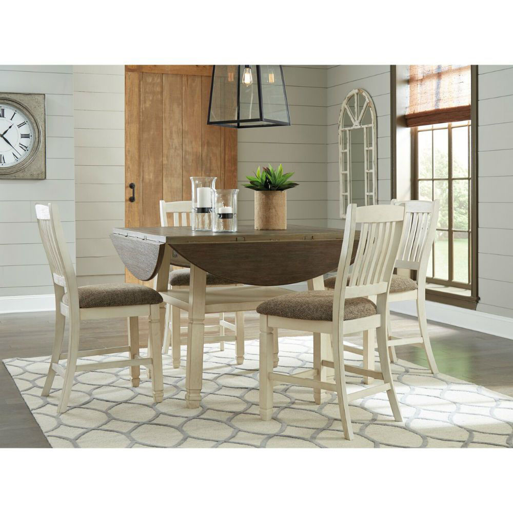 Olympia 5-Piece Drop-Leaf Dining Set - Lifestyle Leaves Down