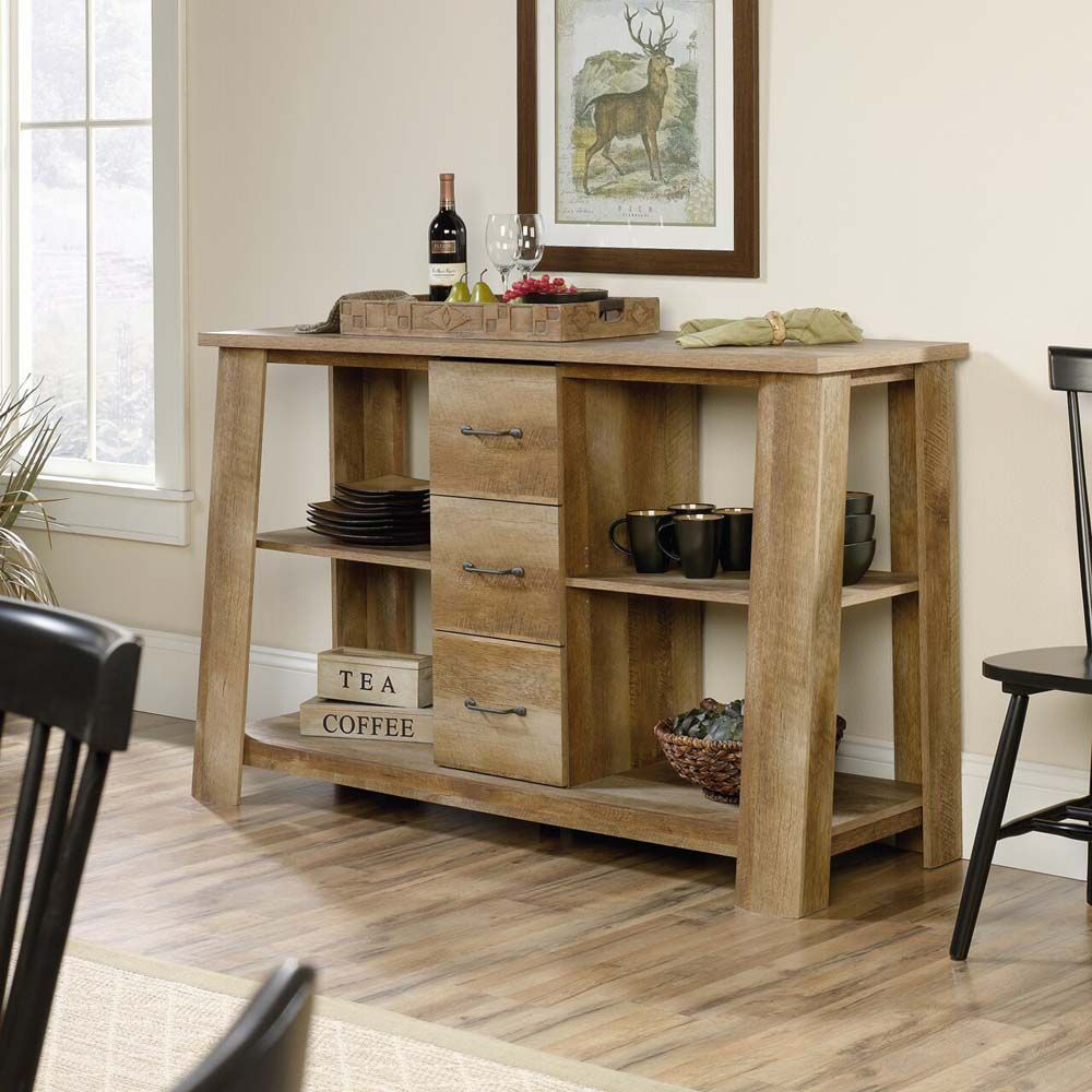 Boone Mountain Credenza - Craftsman Oak - Lifestyle - Decor Items Not Inluded