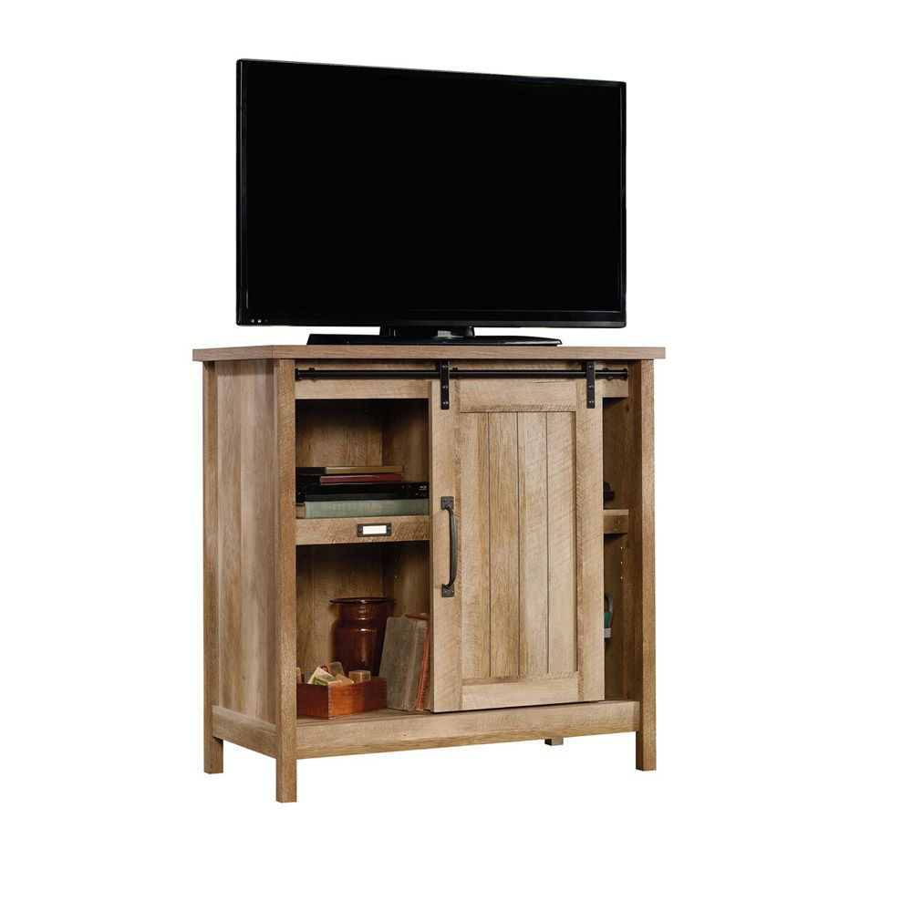 Adept Storage Accent Storage Cabinet - Craftsman Oak - Shown With TV - TV Not Included