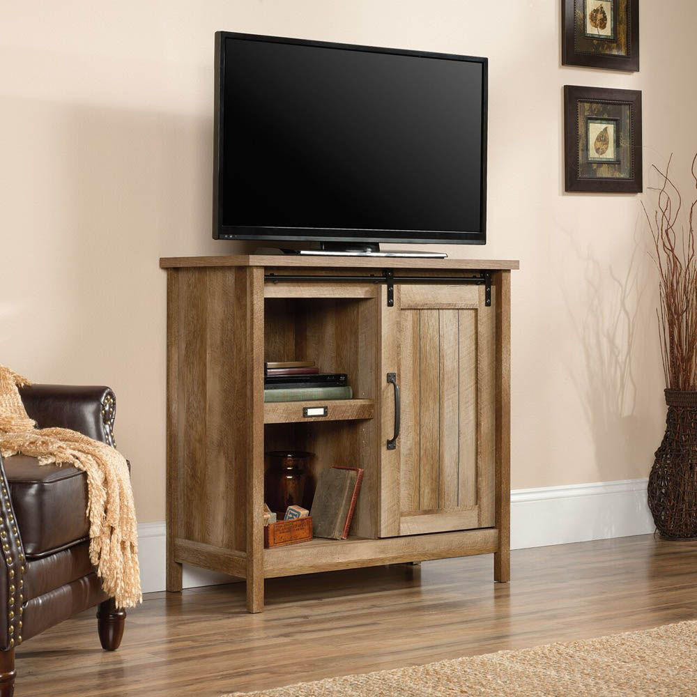Adept Storage Accent Storage Cabinet - Craftsman Oak - Lifestyle - TV Not Included