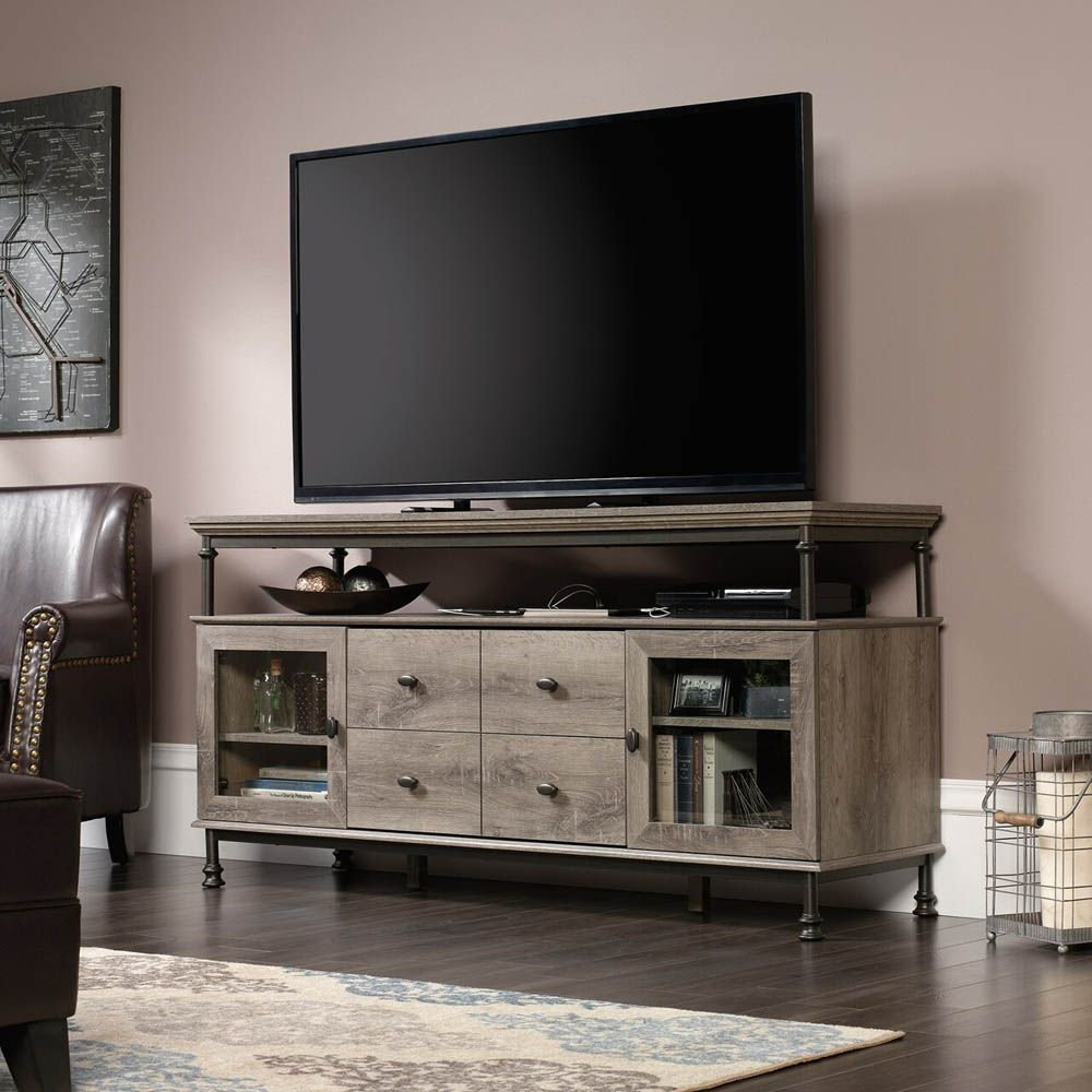 Canal Street Entertainment Credenza - Northern Oak - TV Not Included - Lifestyle