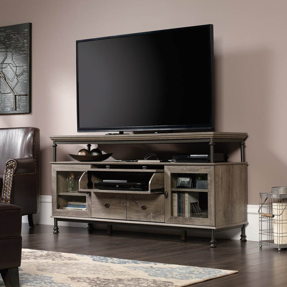Canal Street Entertainment Credenza - Northern Oak - TV Not Included - Lifestyle Open
