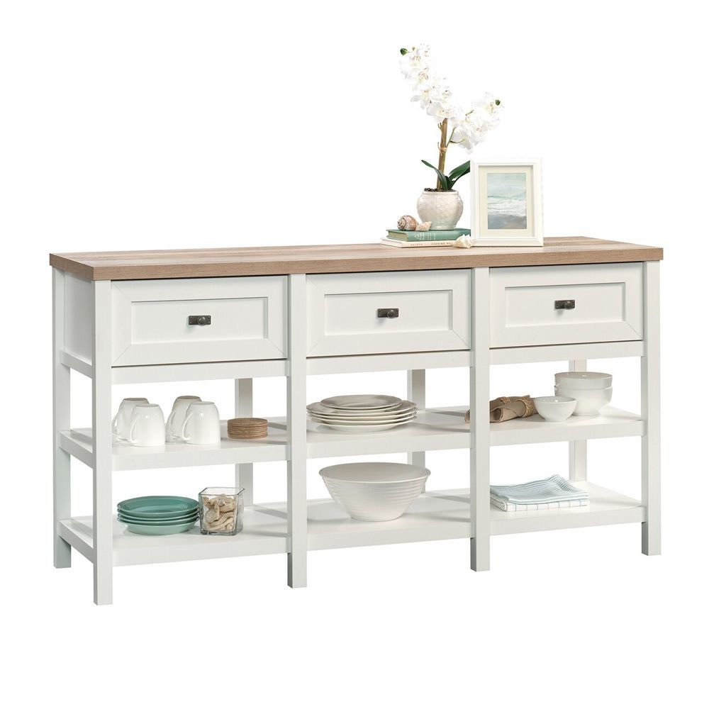 Cottage Road Entertainment Credenza - Soft White - Accessories Not Included