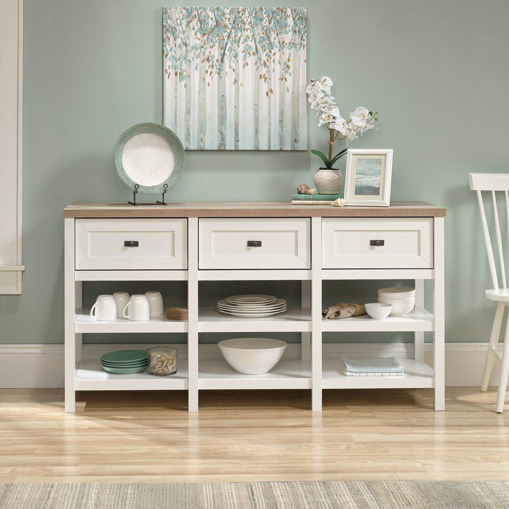 Cottage Road Entertainment Credenza - Soft White - Accessories Not Included - Lifestyle