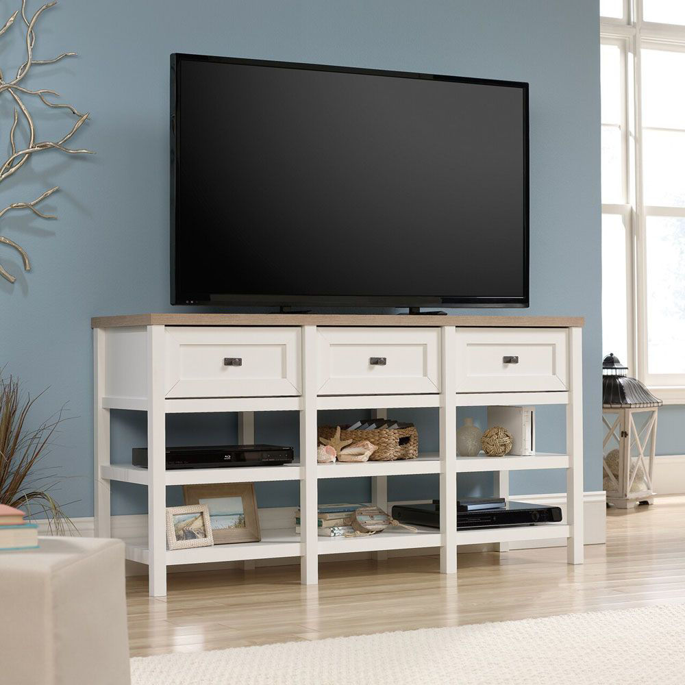 Cottage Road Entertainment Credenza - Soft White - TV Not Included - Lifestyle
