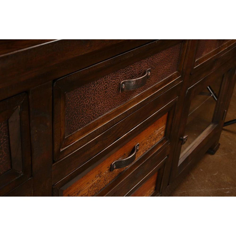 """74"""" Hammered Copper Console - Drawers"""