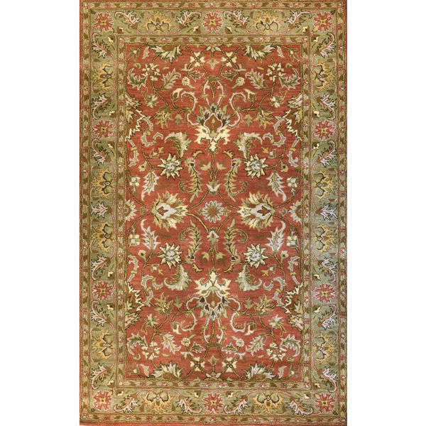 Rust and Sage Floral Hand-Tufted Traditional Wool Rug