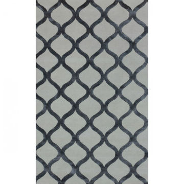 Silver Gray and Cream Link Hand-Tufted Traditional Wool and Viscose Rug