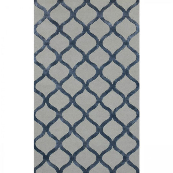 Picture of Silver Blue and Cream Chain Link Hand-Tufted Traditional Wool and Viscose Rug