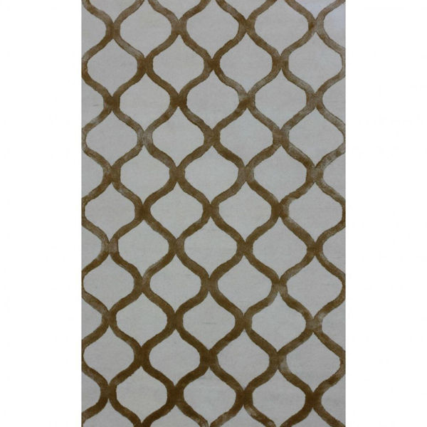 Hazel and White Chain Link Hand-Tufted Traditional Wool and Viscose Rug