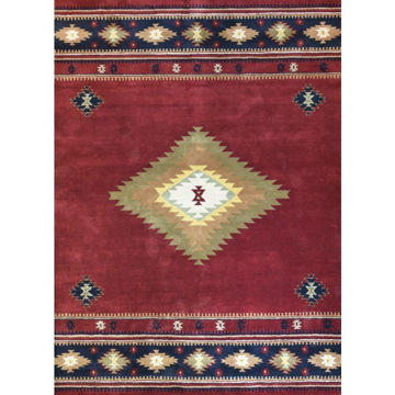Burgundy and Navy Hand-Tufted Southwestern Wool Rug