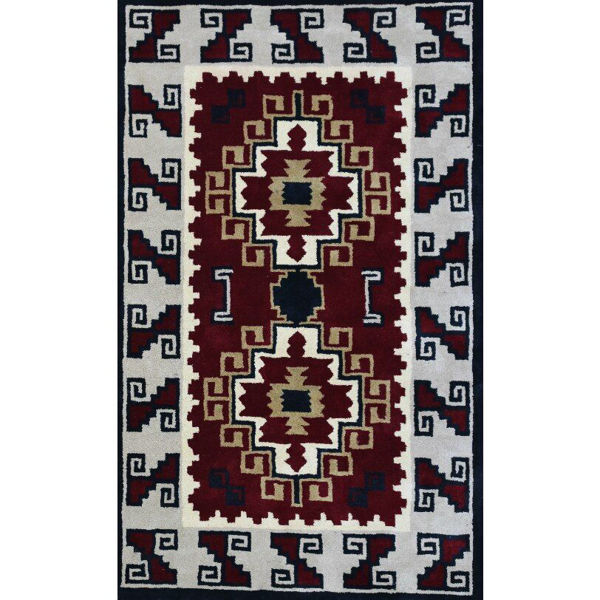 Crimson and Gray Hand-Tufted Southwestern Wool Rug