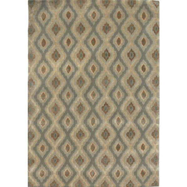 Pale Gold and Dark Sage Green Diamond Hand-Tufted Contemporary Wool and Viscose Rug