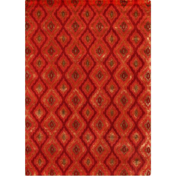Cardinal and Orange Diamond Hand-Tufted Contemporary Wool and Viscose Rug