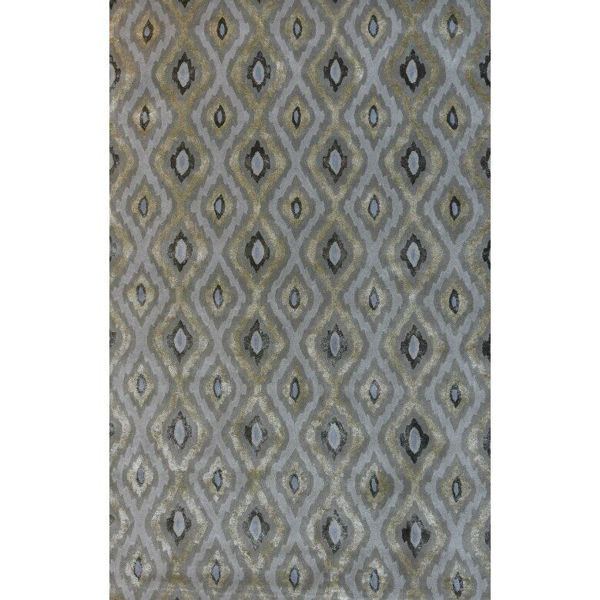 Picture of Pale Gold and Dark Sage Green Diamond Hand-Tufted Contemporary Wool and Viscose Rug