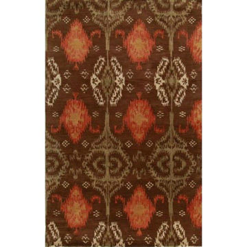 Cinnamon and Apricot Hand-Tufted Southwestern Wool Rug