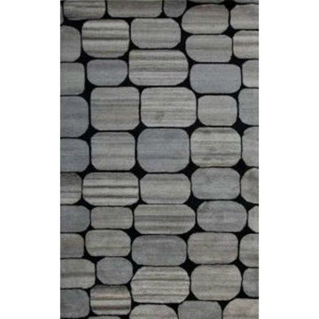 Black and Silver Hand-Tufted Contemporary Wool Rug