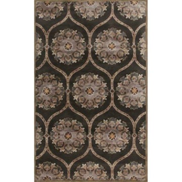 Picture of Charcoal Gray and Taupe Baroque Hand-Tufted Traditional Wool Rug