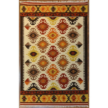 Autumn Colored Flatwoven Kilim Southwestern Wool Rug