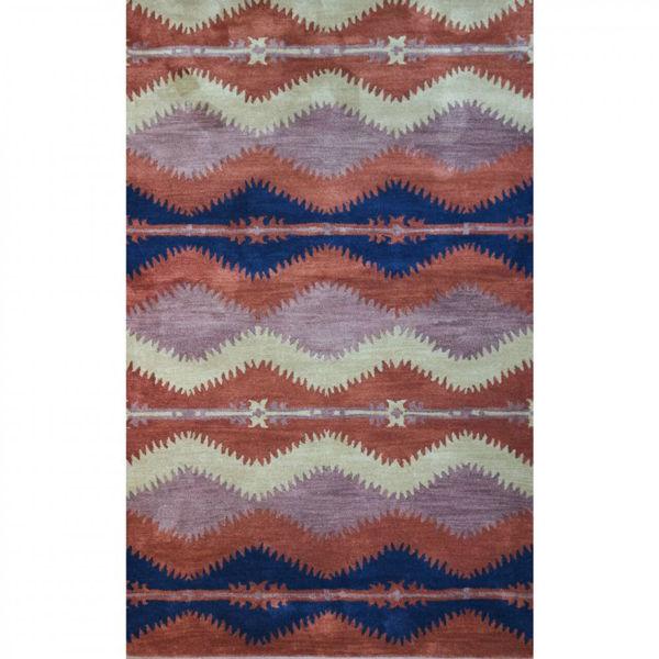 Chevron Rust Southwestern Tufted Wool Rug