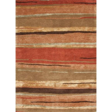 Rust and Brown Transitional Hand-Tufted Wool Rug