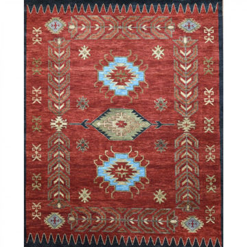 Ruddy Rust and Moss Green Hand-Knotted Tribal Wool Rug