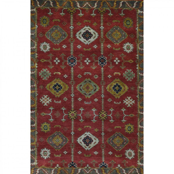 Rose Coral and Gray Sage Hand-Knotted Tribal Wool Rug