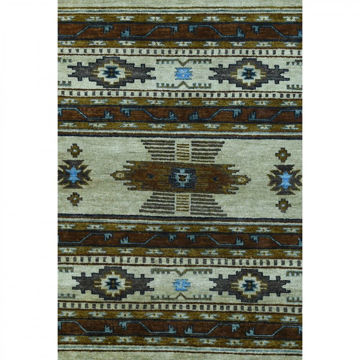 Picture of Sandy Tan and Blue Hand-Knotted Tribal Wool Rug