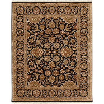 Ebony and Red Hand-Knotted Traditional Wool Rug