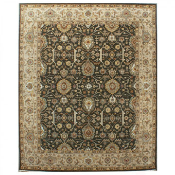 Ashen Brown and Taupe Hand-Knotted Traditional Wool Rug