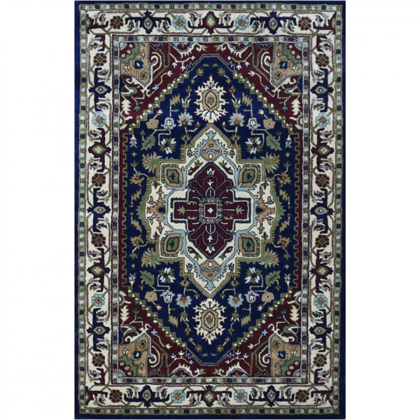 Navy and Ivory Hand-Tufted Traditional Wool Rug
