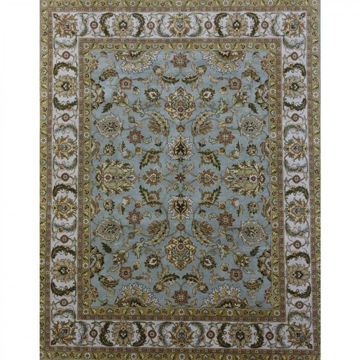 Light Blue and Sage Hand Knotted Traditional Wool Rug