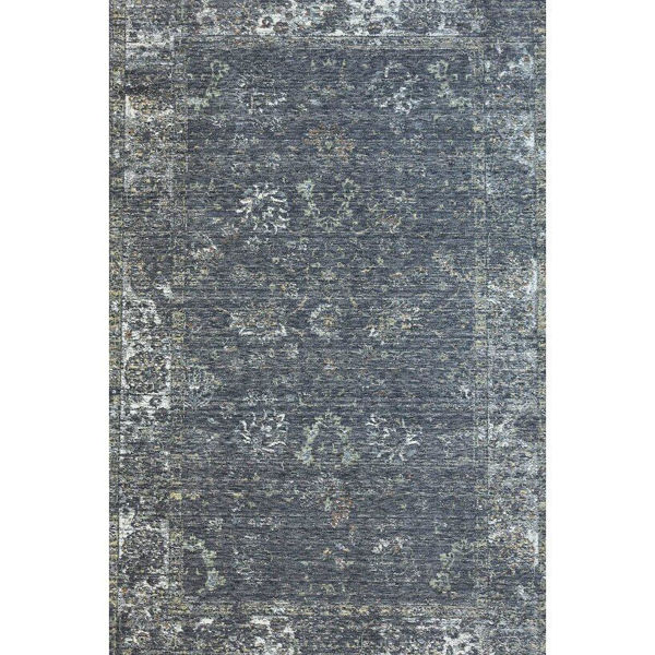Dark Gray and Light Green Machine-Tufted Traditional Wool Rug
