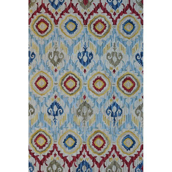 Sky Blue and Multi-Colored Hand-Tufted Southwest Wool Rug