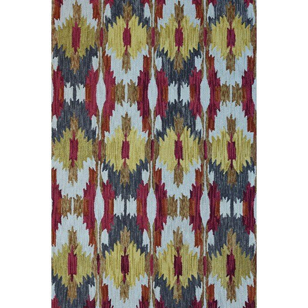 Golden Yellow, Red and Cream Hand-Tufted Southwest Wool Rug