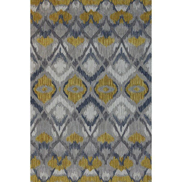 Gray and Gold Hand-Tufted Southwest Wool Rug