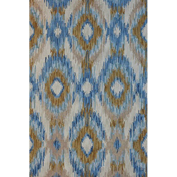 Blue, Golden Brown and Cream Hand-Tufted Southwest Wool Rug