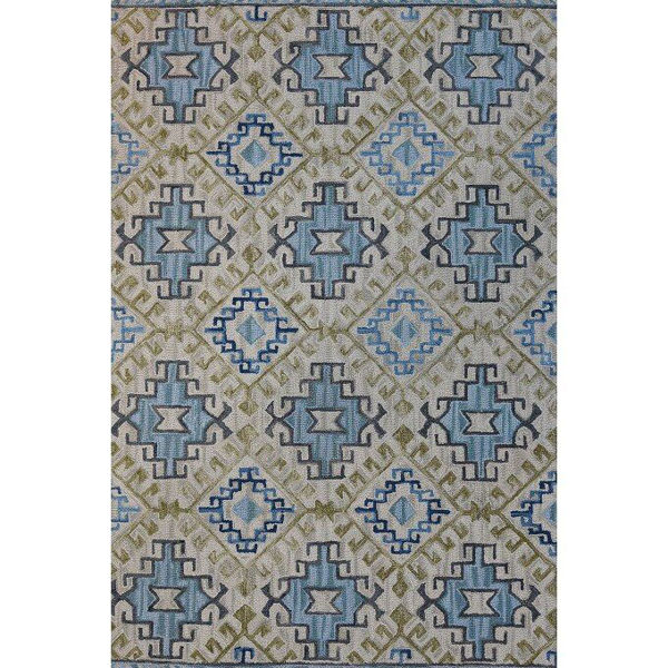 Pale Blue, Olive Green and Cream Hand-Tufted Southwest Wool Rug