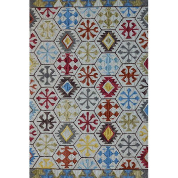 Cream and Multi-Colored Hand-Tufted Southwest Wool Rug