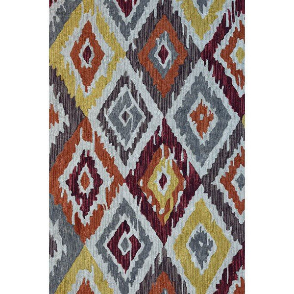 Maroon, Orange, Yellow and Gray Hand-Tufted Southwest Wool Rug