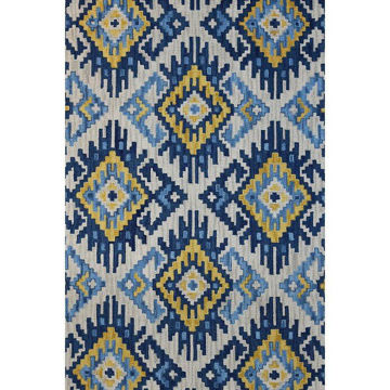 Blue, Gold and Cream Hand-Tufted Southwest Wool Rug