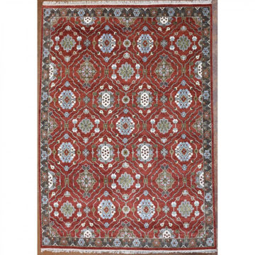 Brick Red, Pale Blue and Olive Brown Hand-Knotted Southwest Wool Rug