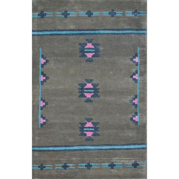 Brown Gray, Bright Blue and Pink Hand-Tufted Southwest Wool Rug