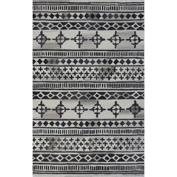 Black and Gray Hand-Tufted Southwest Wool Rug