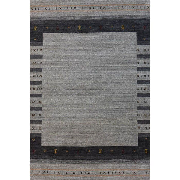 Silver Gray and Charcoal Hand-Knotted Southwestern Wool Rug