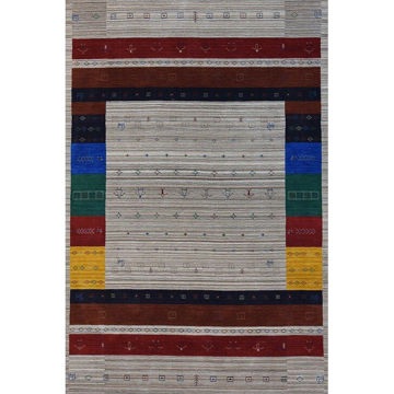 Multi-Colored Hand-Knotted Southwestern Wool Rug