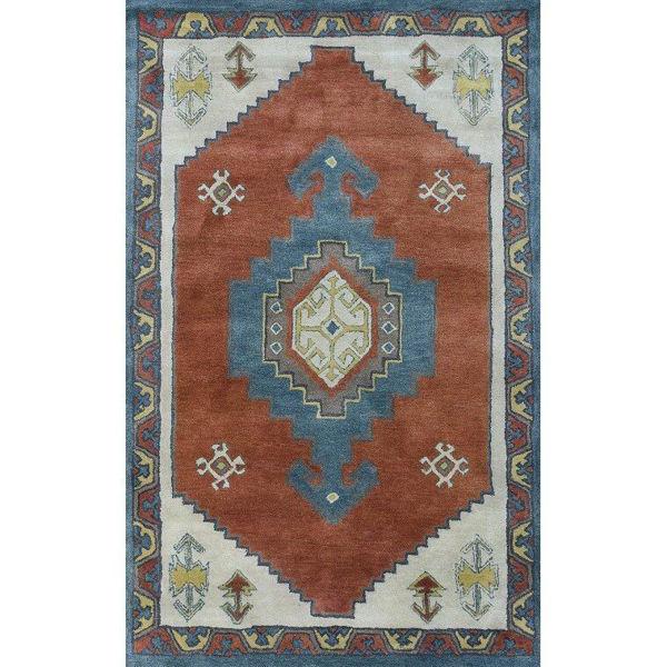 Orange and Light Denim Hand-Tufted Southwest Wool Rug