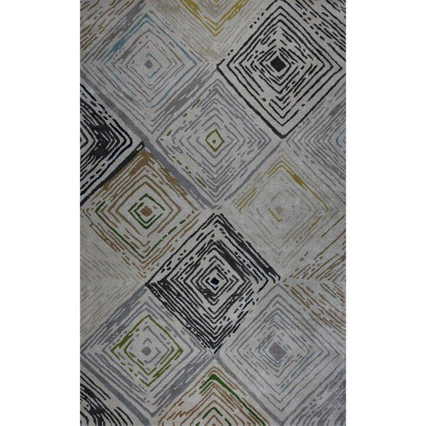 Silver Gray, Navy Blue and Green Hand-Tufted Contemporary Wool and Viscose Rug